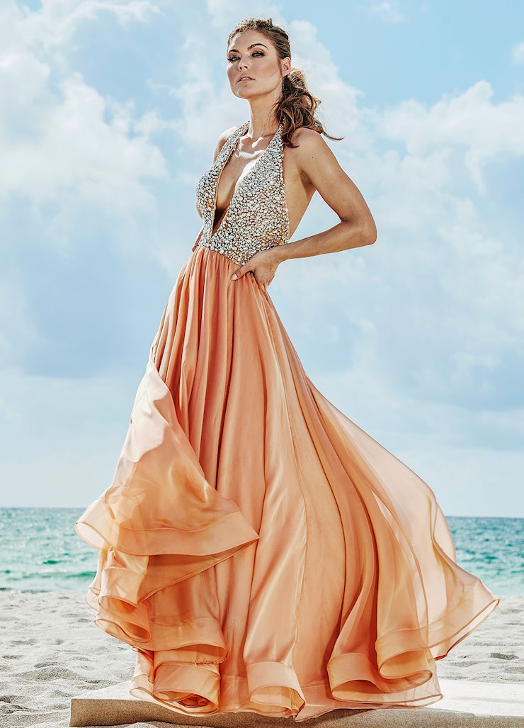 Ashley Lauren Beaded V-Neck Two-Tone Evening Dress Image