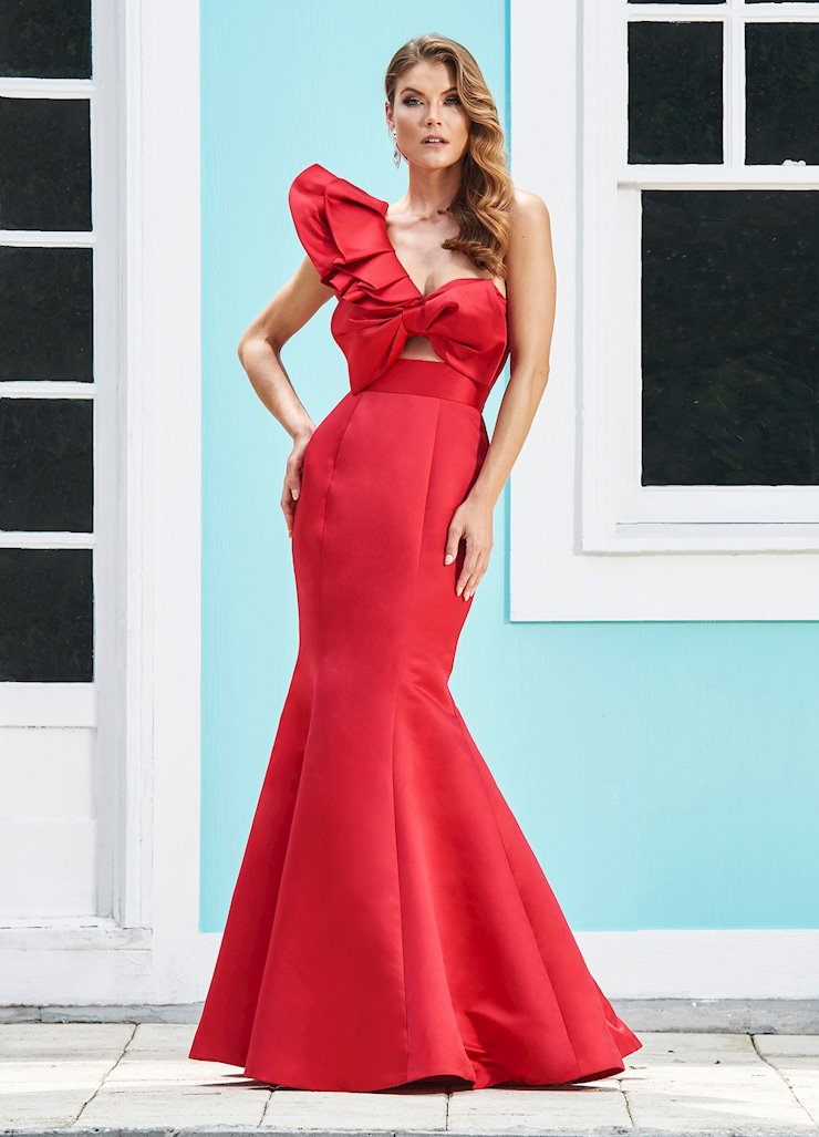 Ashley Lauren One Shoulder Evening Dress with Bow