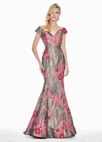 Ashley Lauren Brocade Off Shoulder Evening Dress