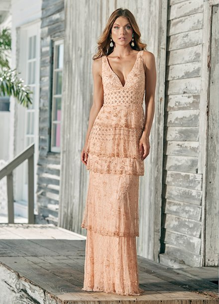 Ashley Lauren Fully Beaded Tiered Skirt Evening Dress