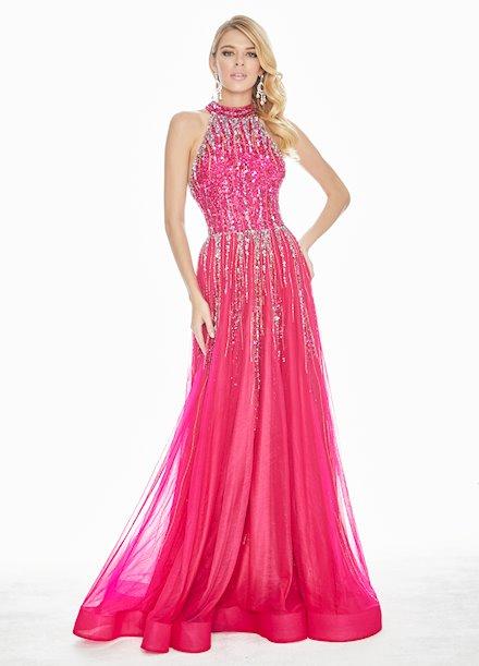 Ashley Lauren Sequin Embellished A-Line Evening Dress