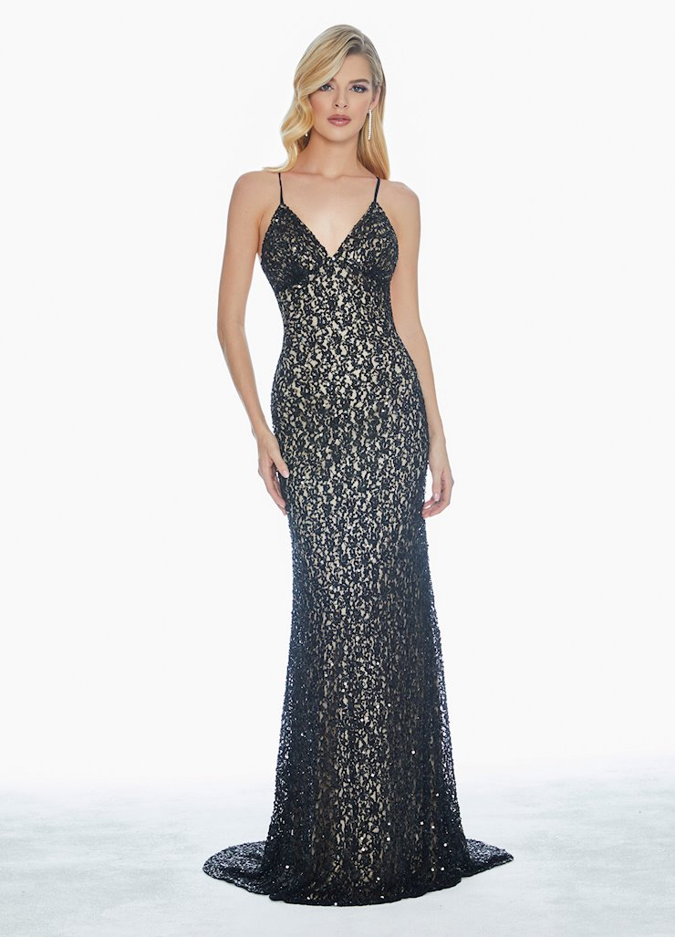Ashley Lauren Sequin Gown with Open Back Image