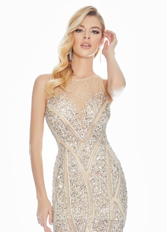 Ashley Lauren Geometric Beaded Sequin Evening Dress