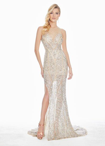 Ashley Lauren Geometric Beaded Sequin Evening Dress