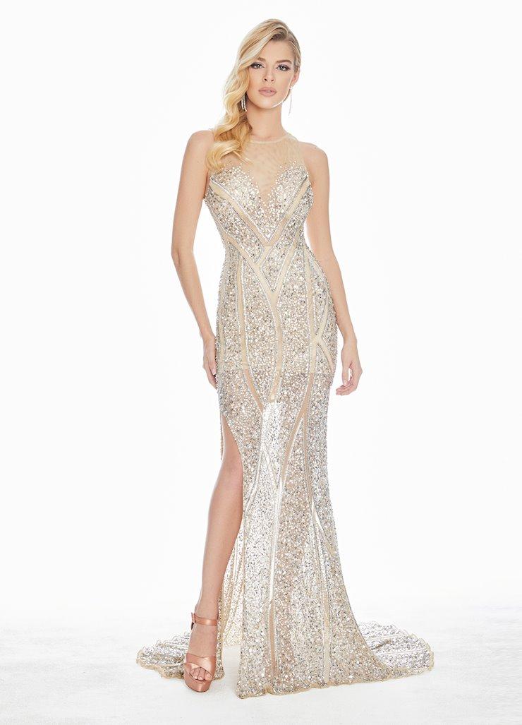 Ashley Lauren Geometric Beaded Sequin Evening Dress Image