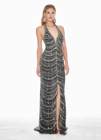 1439 Plunging Halter Sequin Evening Dress