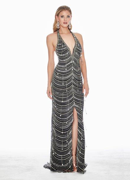 Ashley Lauren Plunging Halter Sequin Evening Dress