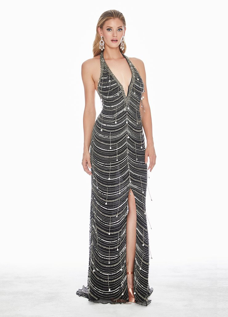 Ashley Lauren Plunging Halter Sequin Evening Dress
