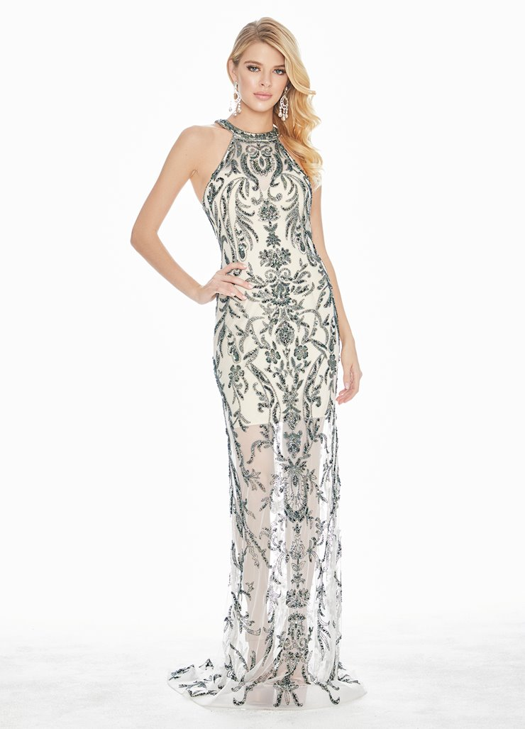 Ashley Lauren Beaded Halter Evening Dress