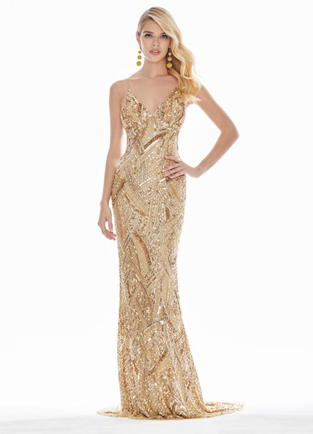 Ashley Lauren Fully Beaded Spaghetti Strap Evening Dress