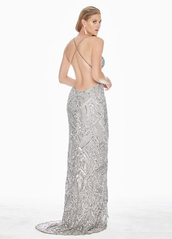 Ashley Lauren Fully Beaded Spaghetti Strap Evening Dress