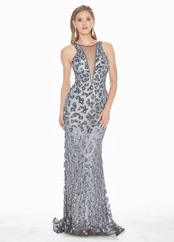 Ashley Lauren Charcoal Fully Beaded Evening Dress