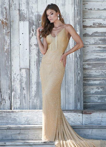 Ashley Lauren Fully Beaded Fringe Evening Dress