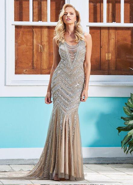 Ashley Lauren Fully Beaded Evening Dress