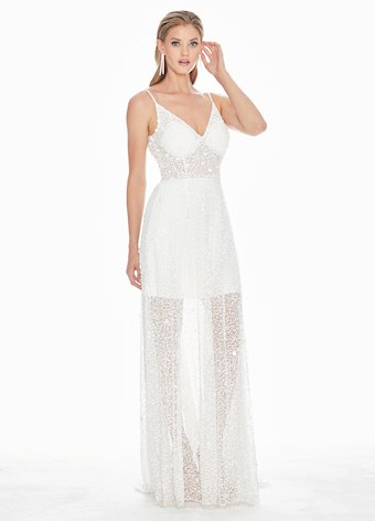 Ashley Lauren Fully Beaded A-Line Evening Dress