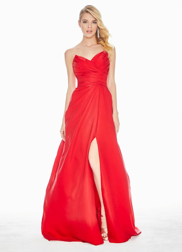 Ashley Lauren Red Two-Tone Crepe Ball Gown Image