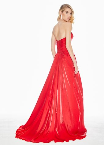 1470 Red Two-Tone Crepe Ball Gown