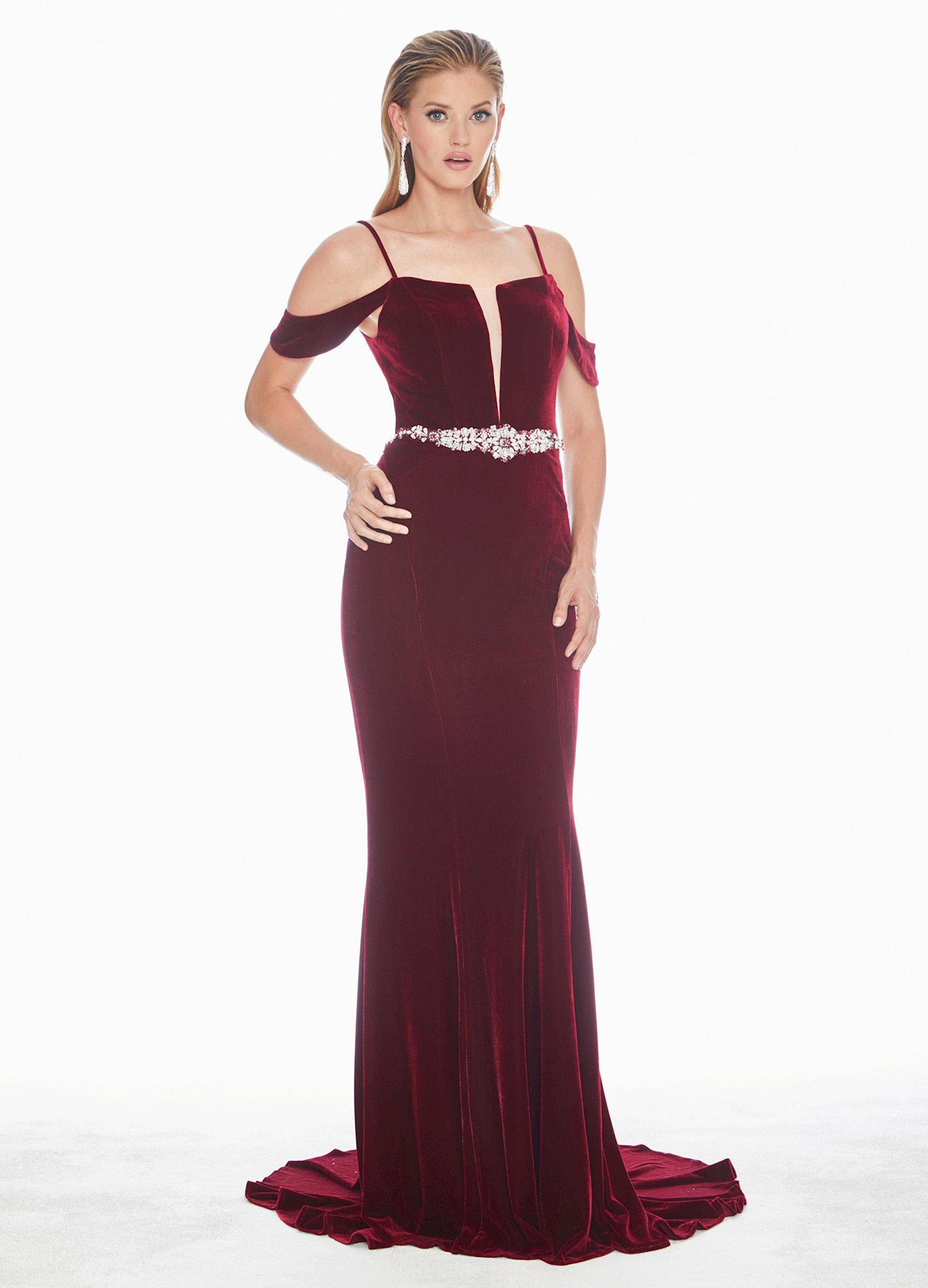 Ashley Lauren Velvet Lace Up Back Evening Dress Ashleylauren