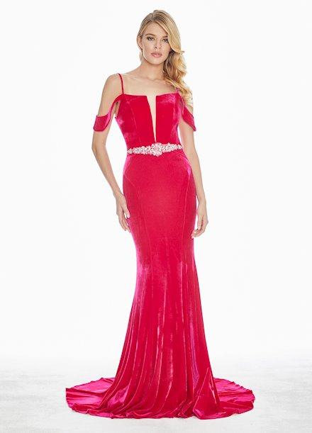 Ashley Lauren Velvet Lace Up Back Evening Dress