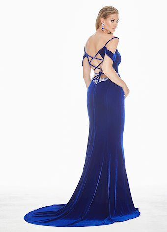 Ashley Lauren Velvet Lace Up Back Evening Dress