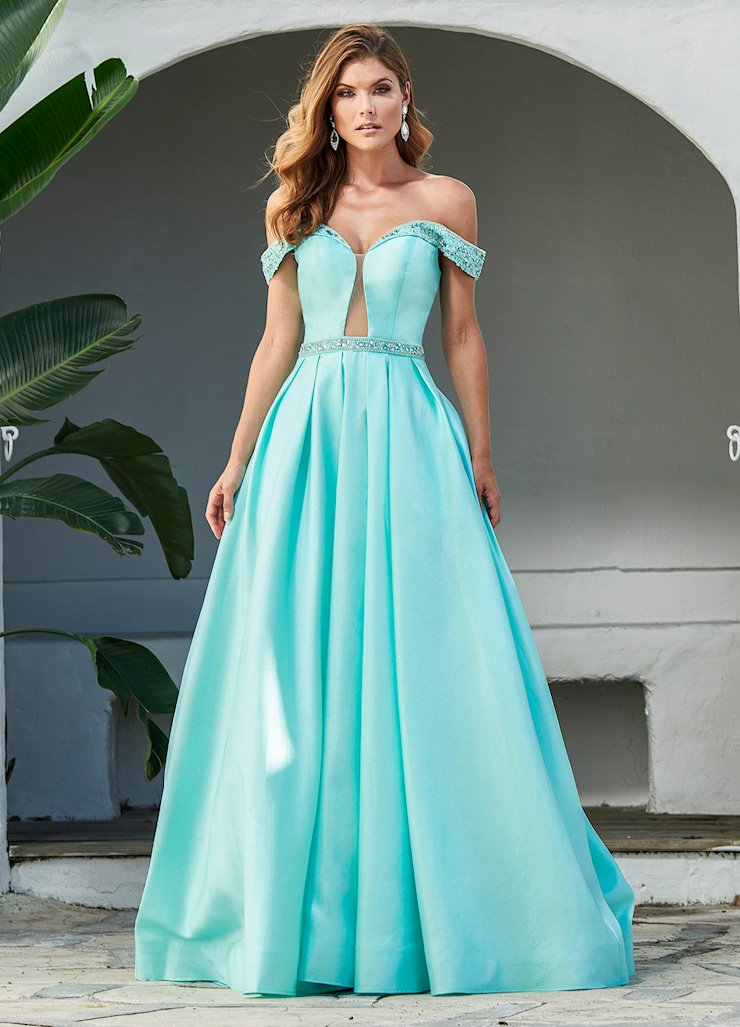 Ashley Lauren Metallic Off Shoulder Beaded Ball Gown