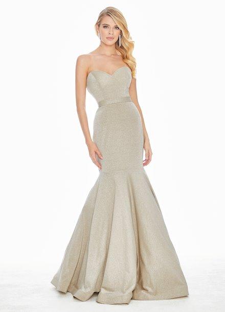 Ashley Lauren Metallic Fit & Flare Evening Dress