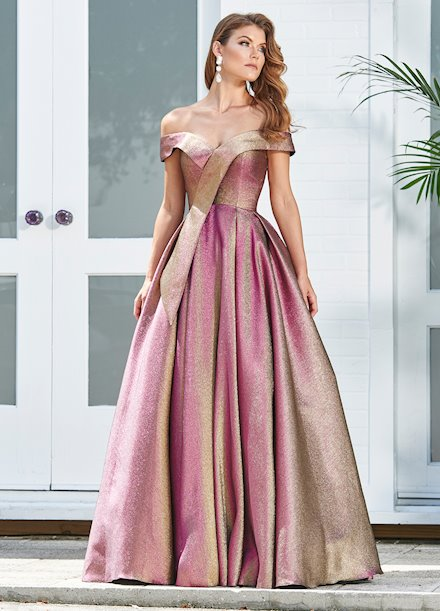 Ashley Lauren Metallic Off Shoulder Ball Gown