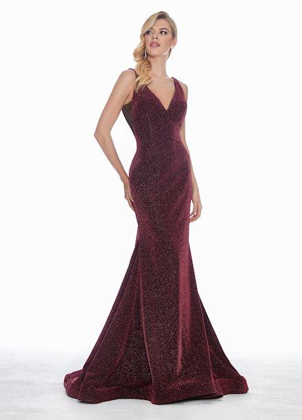 Ashley Lauren Metallic Scuba Evening Dress