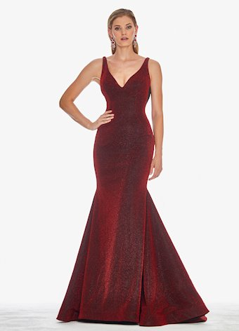 Ashley Lauren Metallic Scuba Evening Dress
