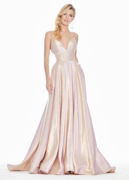 Ashley Lauren Long Metallic A-Line Evening Dress