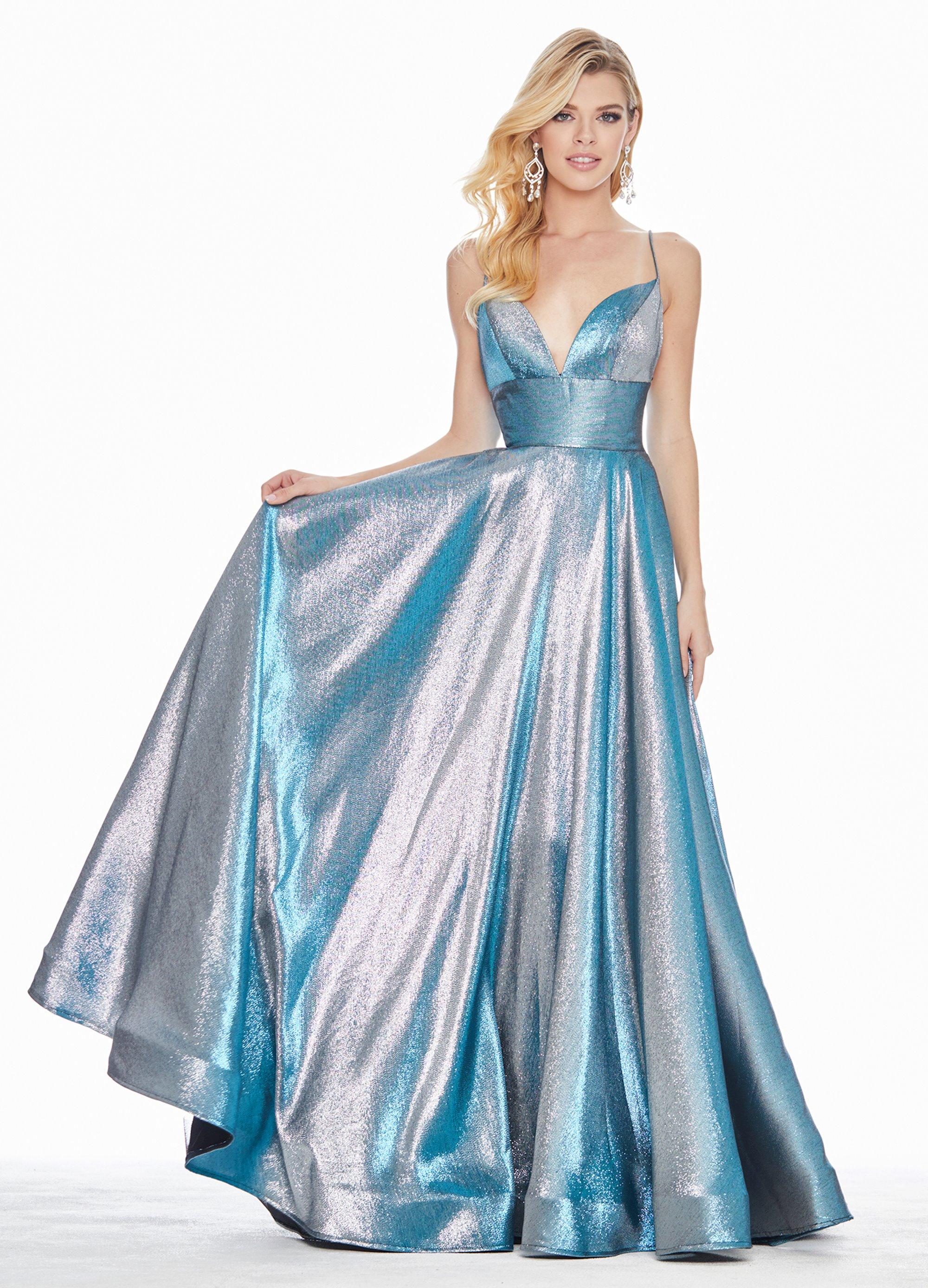 Ashley Lauren Long Metallic A Line Evening Dress Ashleylauren