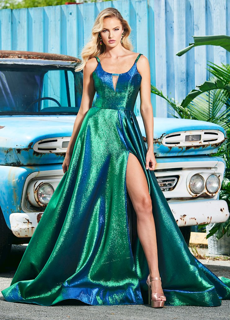 Ashley Lauren Long Metallic A-Line Evening Dress with Train