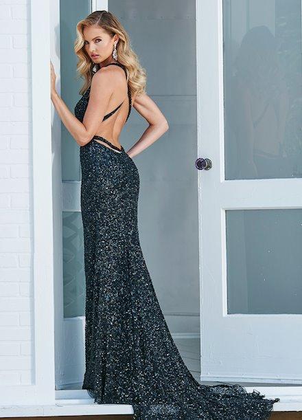 Ashley Lauren Open Back Sequin Evening Dress