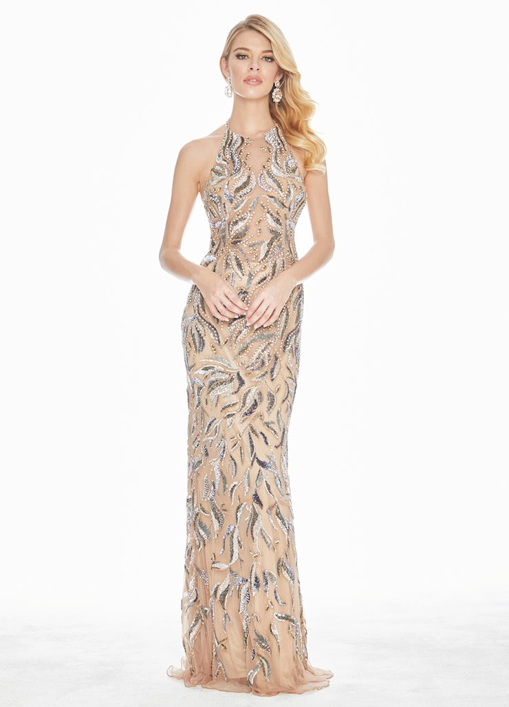 Ashley Lauren Fully Beaded Halter Evening Dress