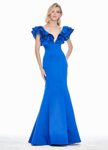 Ashley Lauren Ruffle Sleeve Evening Dress