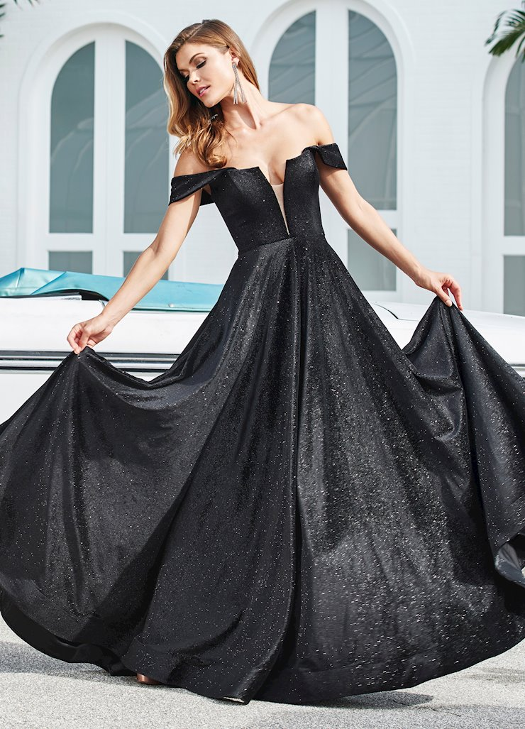Ashley Lauren Off the Shoulder Glitter Velvet Ball Gown