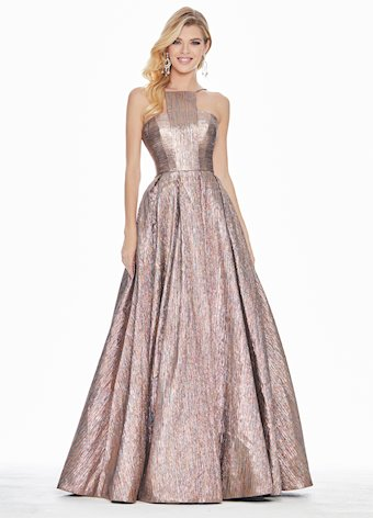 Ashley Lauren Metallic Brocade Halter Ball Gown