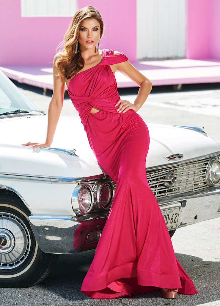 Ashley Lauren One Shoulder Metallic Jersey Evening Dress