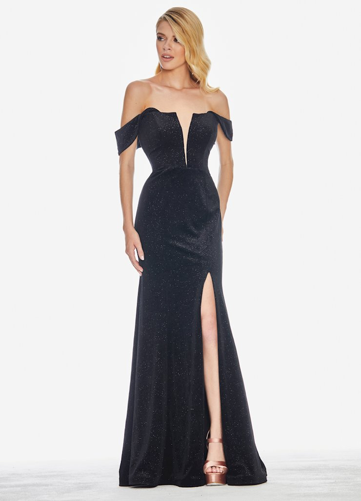 Ashley Lauren Off the Shoulder Glitter Velvet Evening Dress