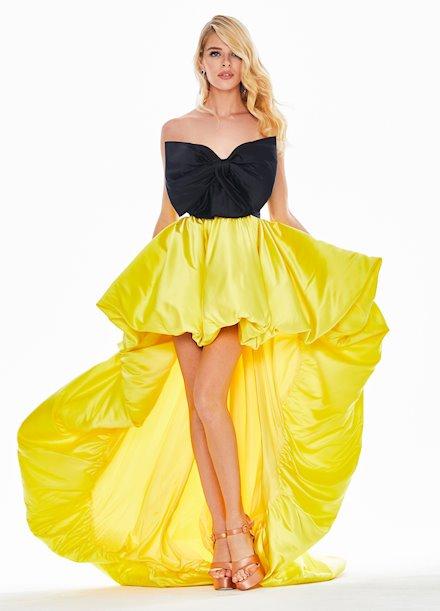 Ashley Lauren Bow Adorned Bubble Skirt Evening Dress