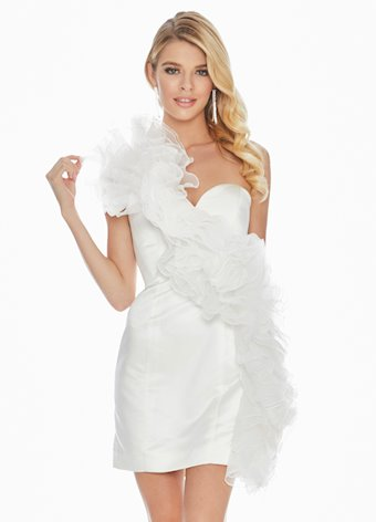 Ashley Lauren Organza Ruffle Cocktail Dress