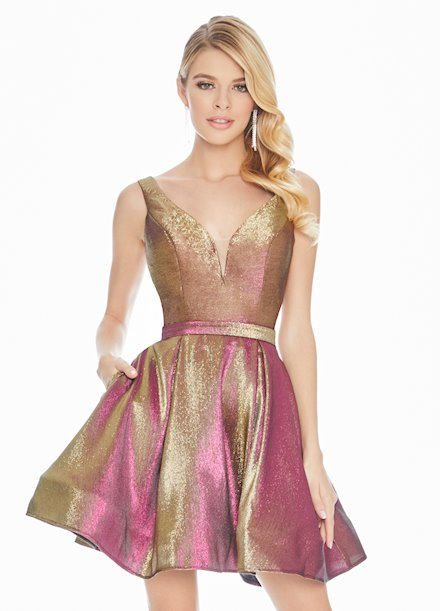 Ashley Lauren Metallic Brocade Cocktail Dress