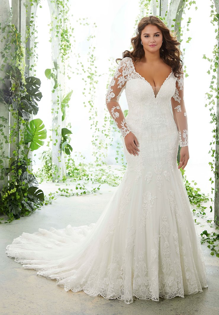 Morilee Style #3251 Lace Fit and Flare Wedding Dress with Long Sleeves  Image