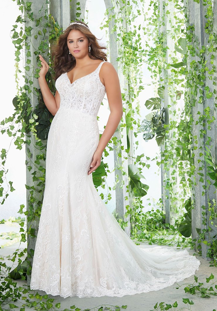 Morilee Style #3253 Lace Fit and Flare Wedding Dress with Long, Sheer Train  Image