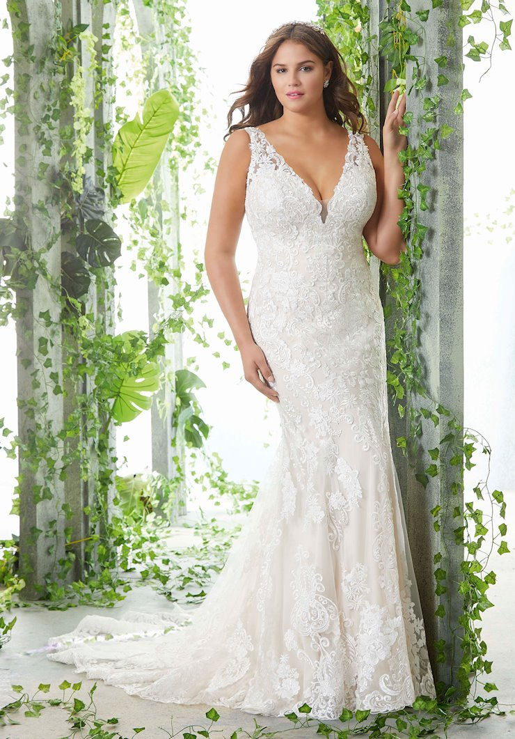 Morilee Style #3257 Lace Fit and Flare Deep V-Neck Wedding Dress with Sheer Train  Image