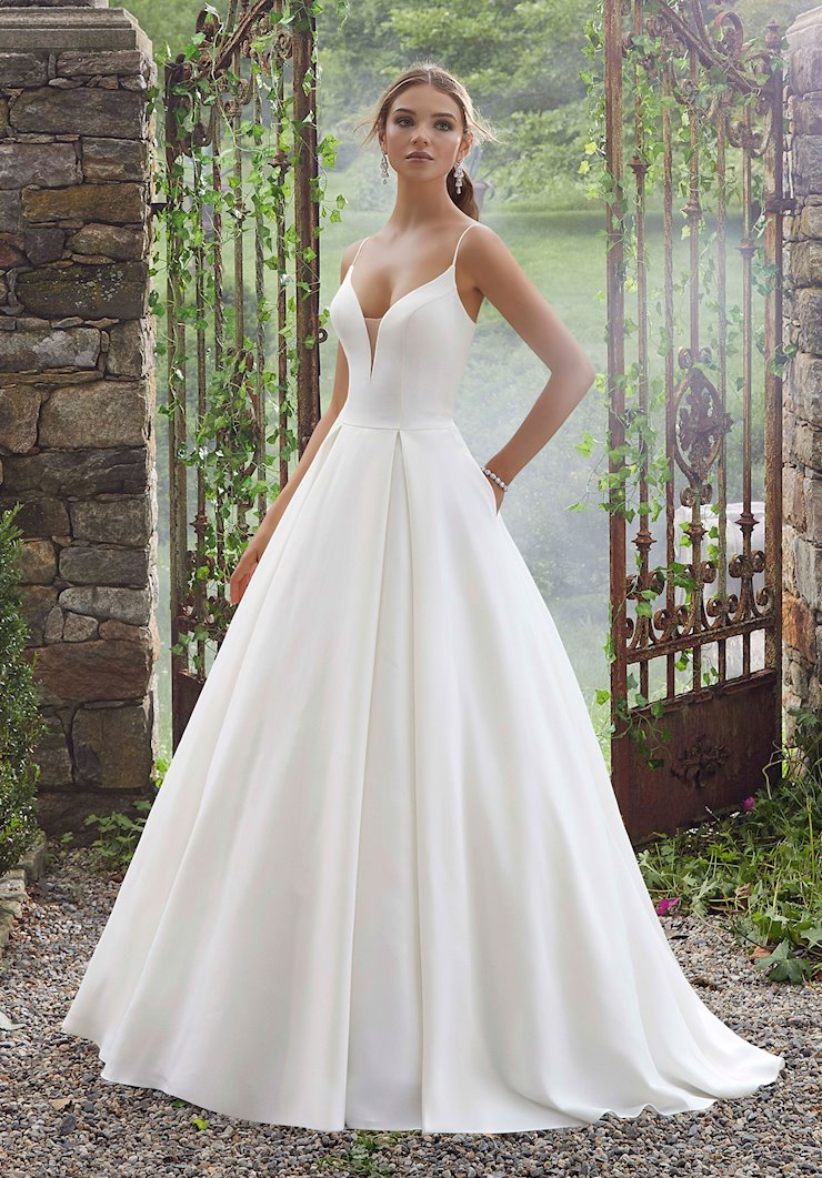 Blu by Morilee Style #5706 Simple and Chic Ball Gown with Deep V and Sheer Net Back  Image