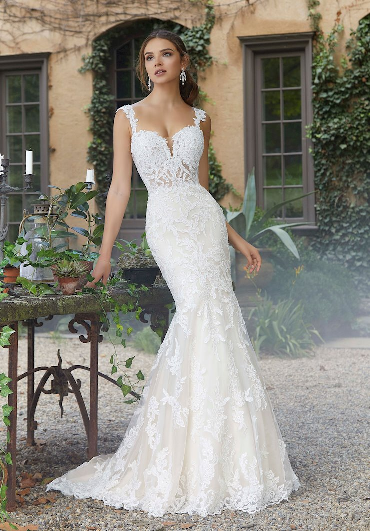 Blu by Morilee Style #5707 Sparkly Lace Mermaid Sweetheart Wedding Dress with Straps Image