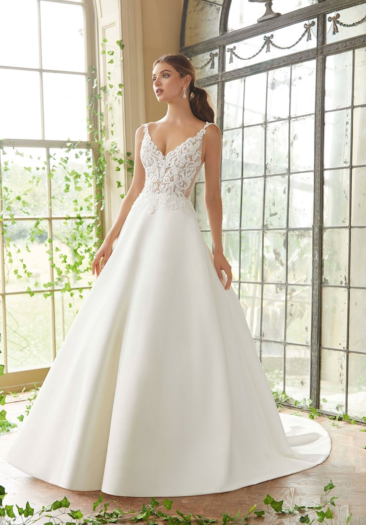 Blu by Morilee Style #5716 Beaded and Lace V-Neck Ball Gown Wedding Dress with Pockets  Image