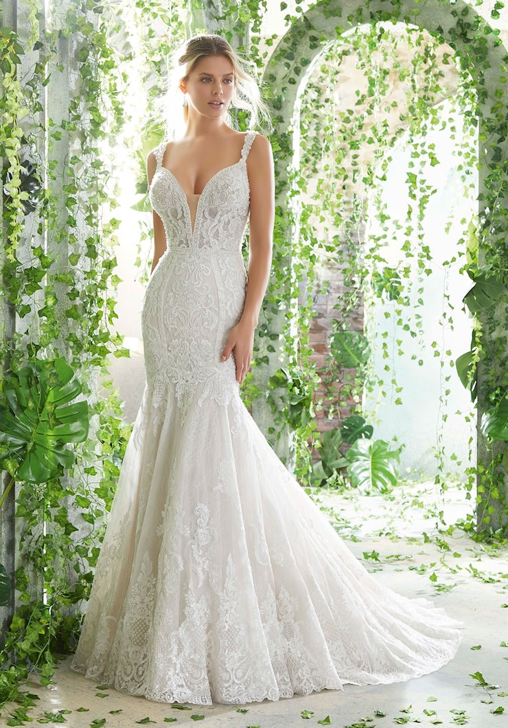 AF Couture by Morilee Style #1722 Lace Crystal Beading Mermaid Wedding Dress with Straps and a Deep-V-neck Image