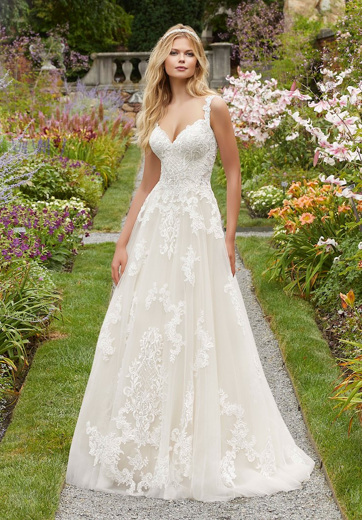 Morilee Style #2020  Lace Ball Gown Wedding Dress with Beaded Straps  Image